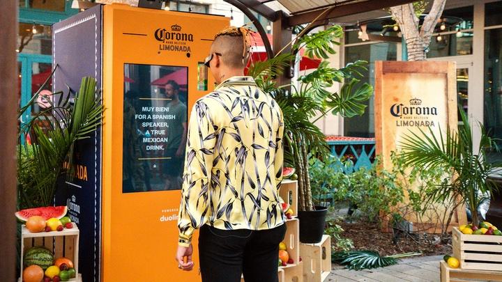 corona hard seltzer limonada vending machine