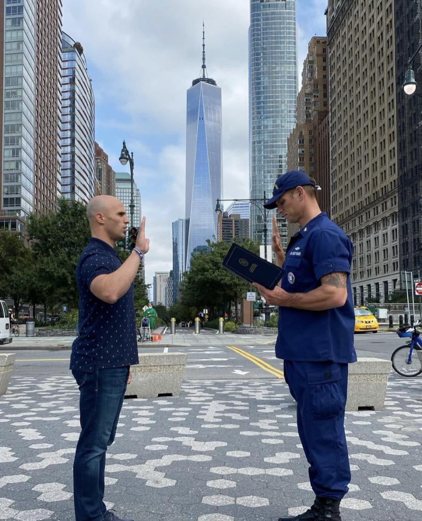 Adam San Miguel swearing in Coast Guard