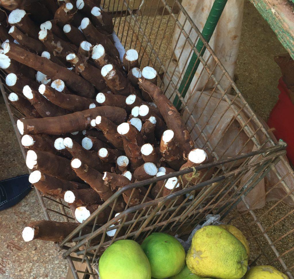 yuca at market